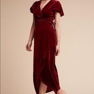 BHLDN Anthropologie Thrive Red Velvet Wrap Dress